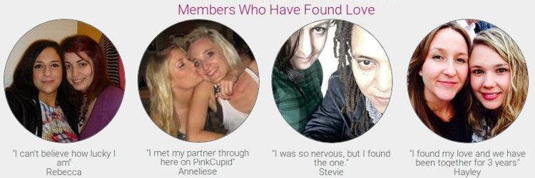 Getuigenissen en beoordelingen van lesbiennes en klanten die hun ervaringen met PinkCupid delen